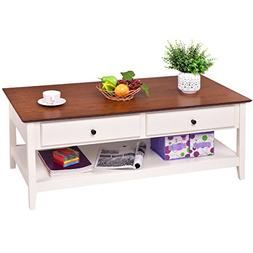 Giantex Wood Coffee Table Cocktail Table with Drawer & Stora