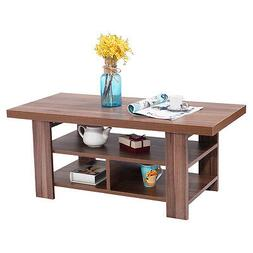 Wood Coffee Table Rectangle Modern Living Room Furniture w/