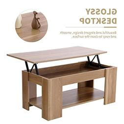 Mecor Wood Lift Up Top Coffee Table with Hidden Compartment