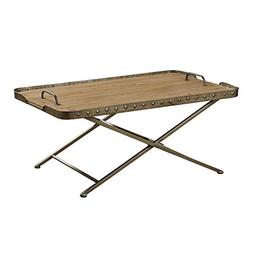 StyleCraft Natural Wood Top Metal Folding Coffee Table with