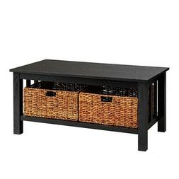 "WE Furniture 40"" Wood Storage Coffee Table with Totes - Blac"