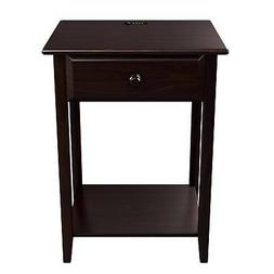 Wood End Table Espresso Traditional Furniture Sofa Side Stor