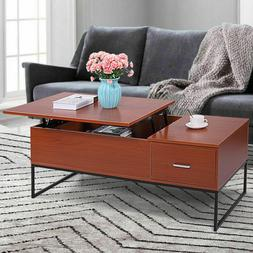 Wood Tea Table Lift Top Coffee Desk W/Storage Drawer Living