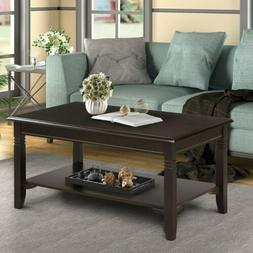 Wooden Black Coffee Table 2 Tiers Rectangle Solid Tea Table