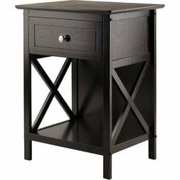 Winsome Xylia 1 Drawer Transitional Solid Wood Storage End T