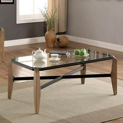 Yvaine Black Metal Coffee Table with Glass Top Powder Coated